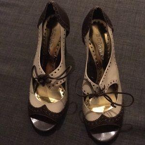 BCBGirls brown and cream saddleback lace up heels